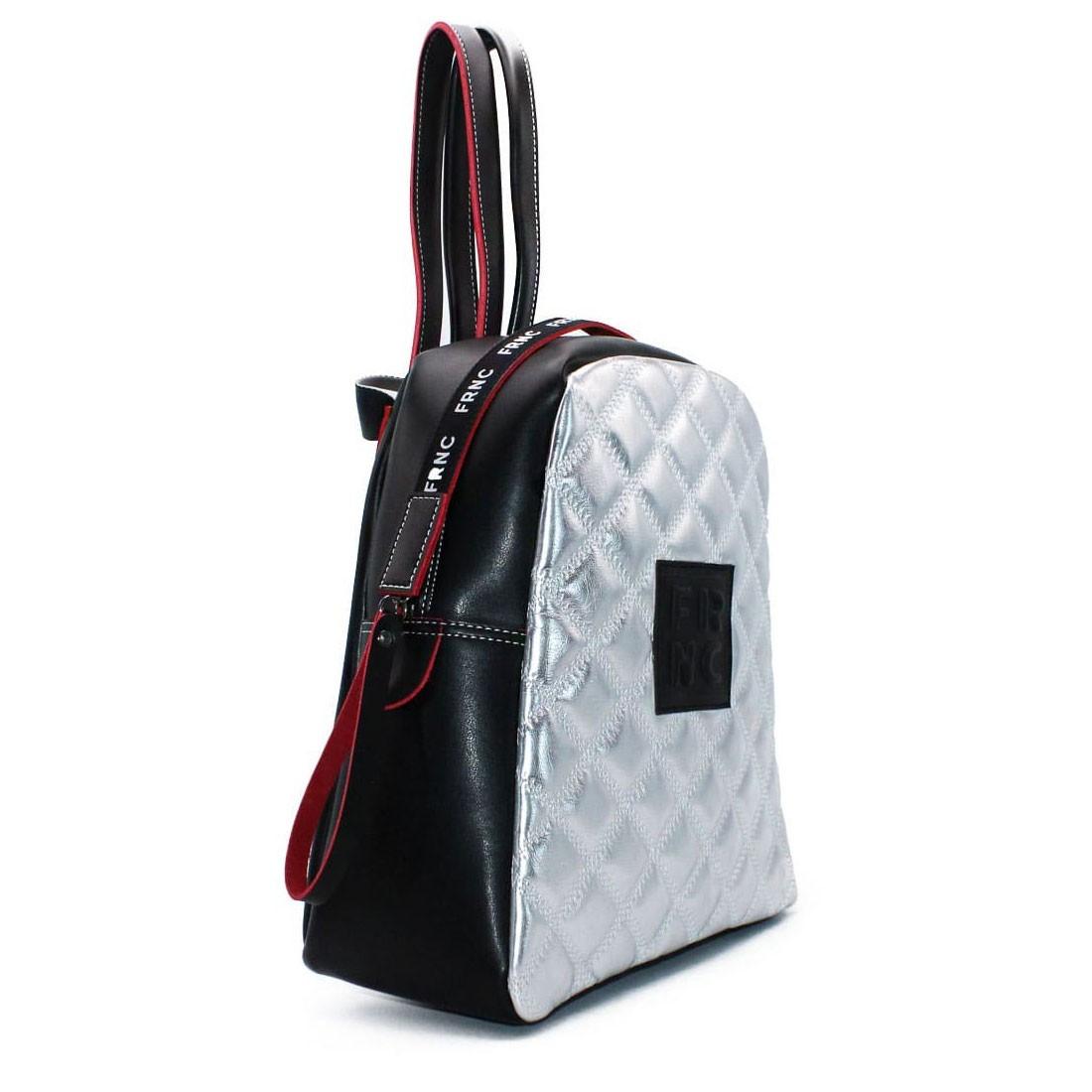 9d236a1eba FRNC FRANCESCO Τσάντα Γυναικεία Πλάτης-Backpack 1202 Μαύρο-Ασημί Kαπιτονέ –  IShoeStore