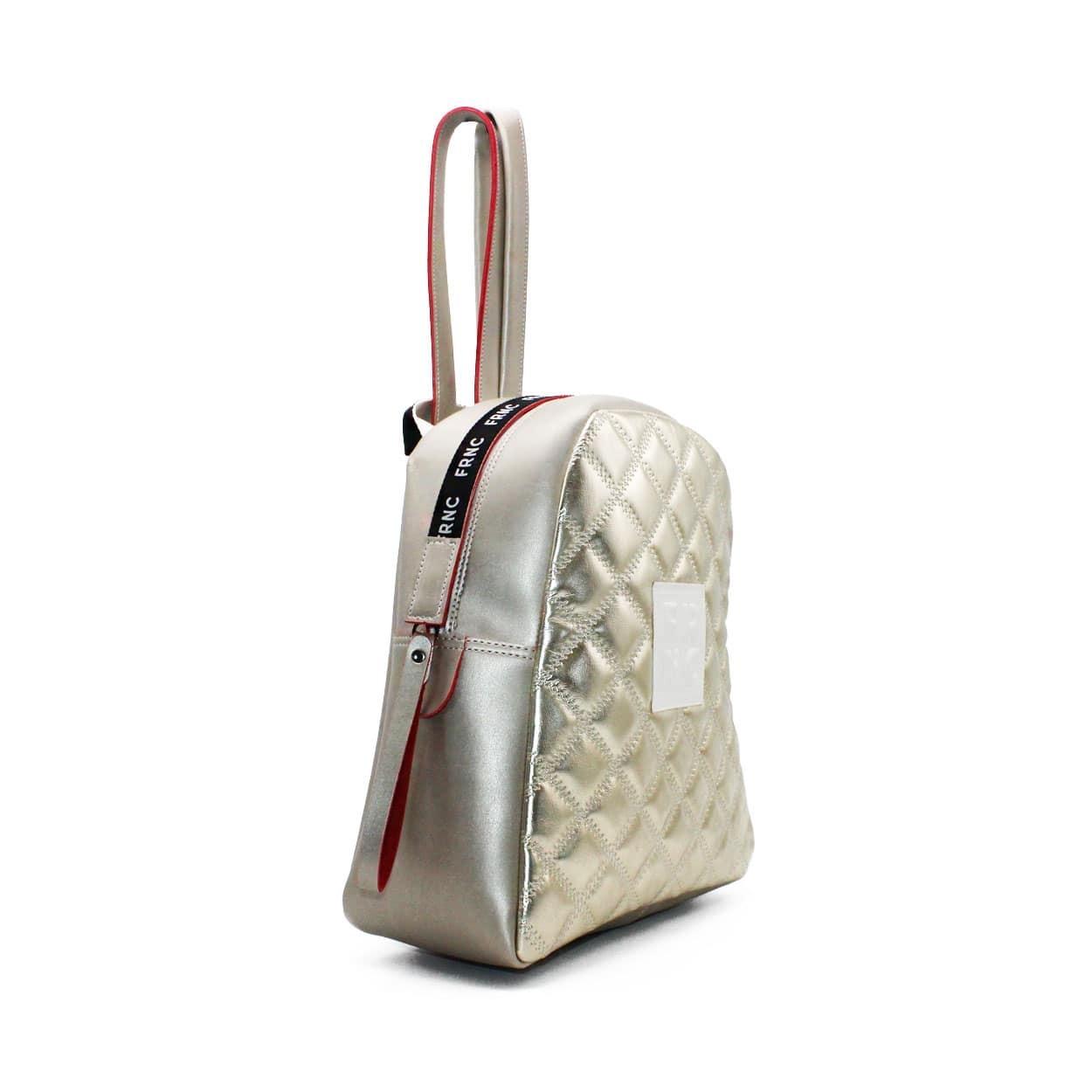 ec6e4572af FRNC FRANCESCO Τσάντα Γυναικεία Πλάτης-Backpack 1201 Πλατίνα Καπιτονέ –  IShoeStore