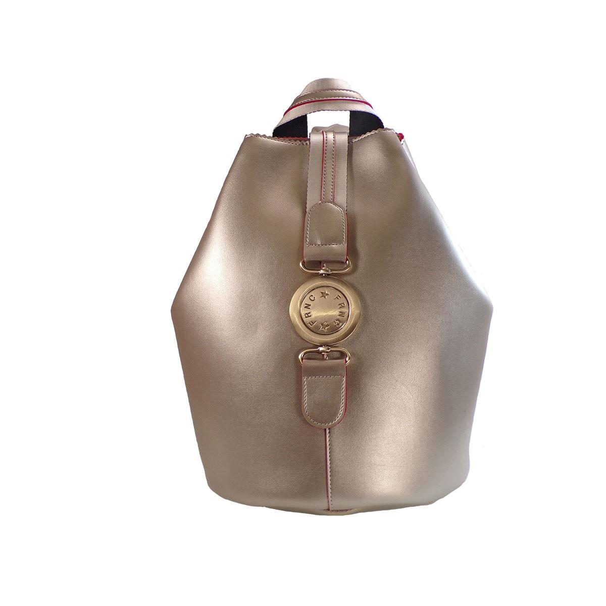 788545ce9b FRNC FRANCESCO Τσάντα Γυναικεία Πλάτης-Backpack 563 Πλατίνα Δέρμα –  IShoeStore