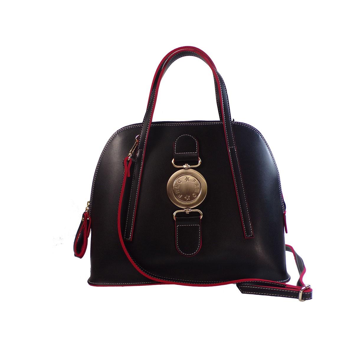 120625d365 FRNC FRANCESCO Τσάντα Γυναικεία Ώμου 571 Μαύρο Δέρμα – IShoeStore