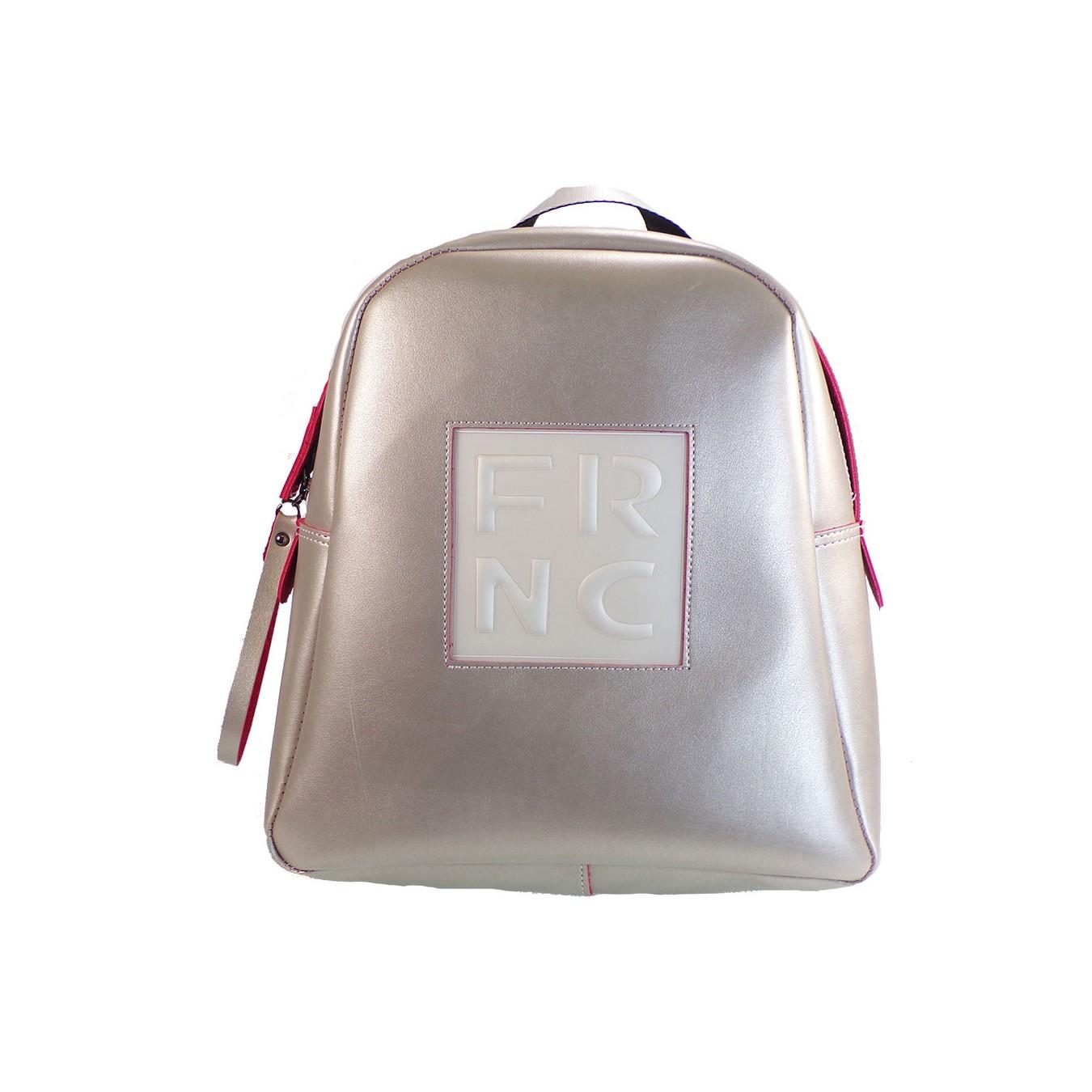 dc50445929 FRNC FRANCESCO Τσάντα Γυναικεία Πλάτης-Backpack 1201 Πλατίνα Δέρμα –  IShoeStore