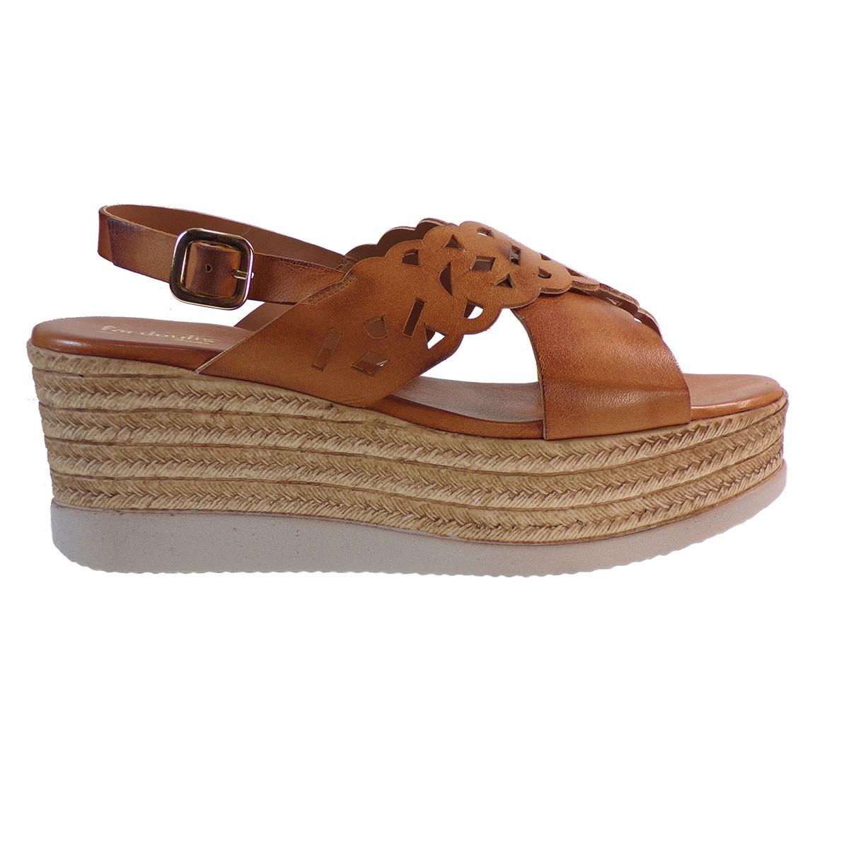 141da7d23e4 Fardoulis shoes Γυναικείες Πλατφόρμες Πέδιλα 64440 Ταμπά Δέρμα