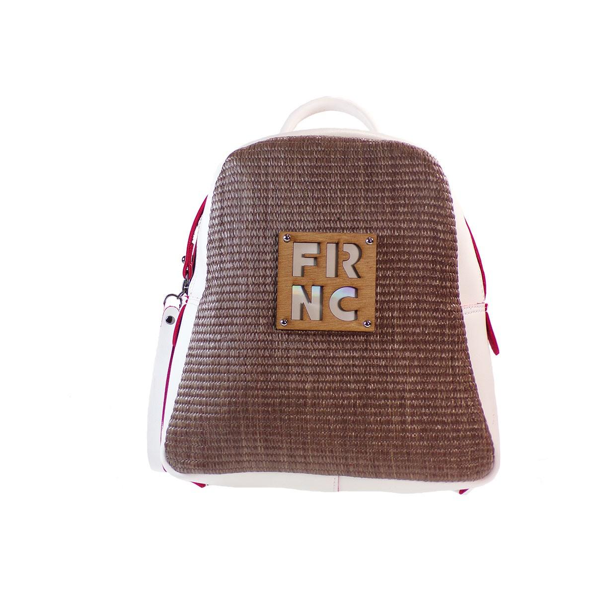 87a55aa390 FRNC FRANCESCO Τσάντα Γυναικεία Πλάτης-Backpack 1201 Off White Ψάθα ...