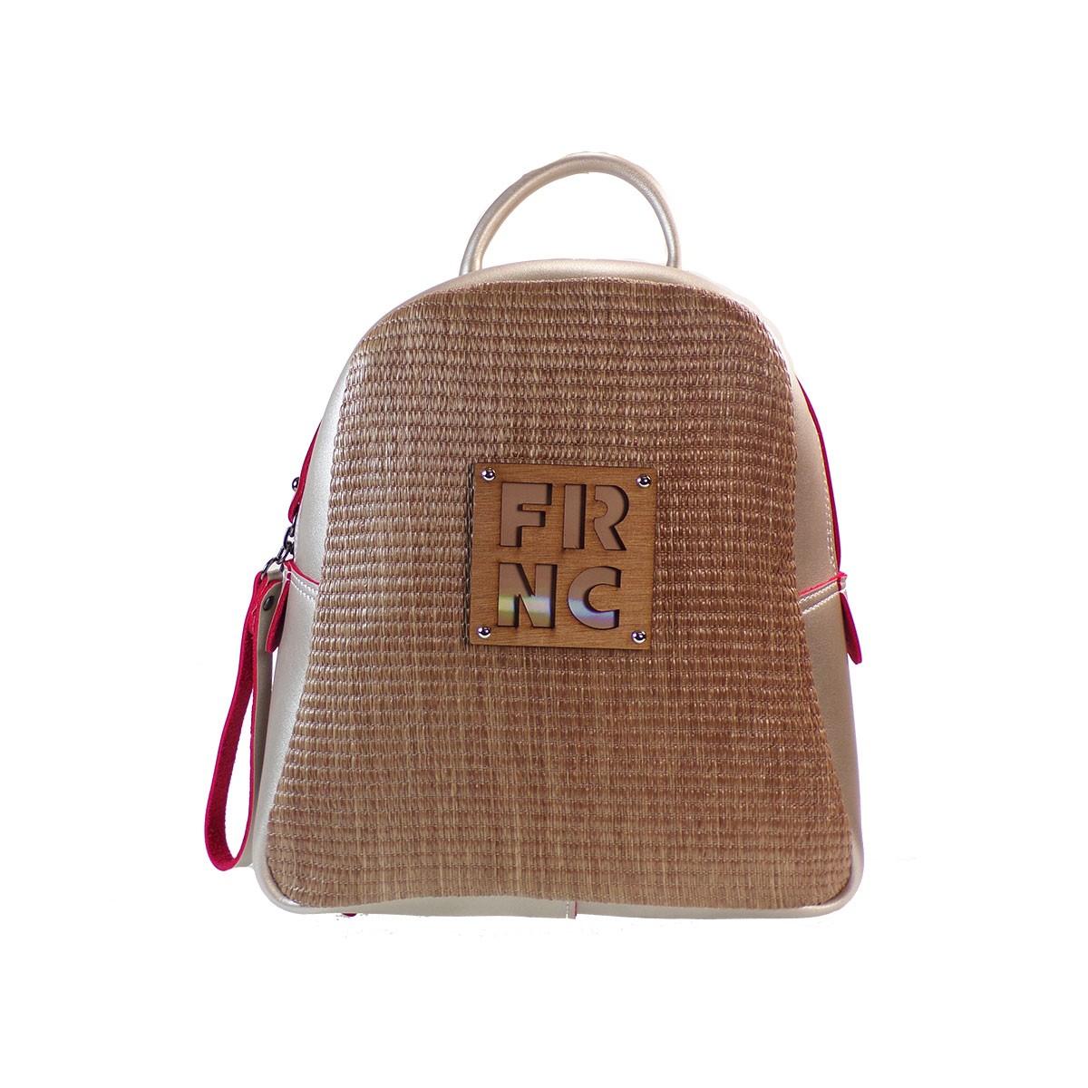 fa8cb7bbb6 FRNC FRANCESCO Τσάντα Γυναικεία Πλάτης-Backpack 1201 Πλατίνα Ψάθα ...